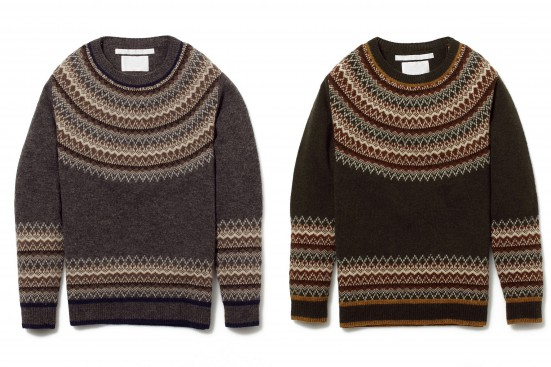 NORDIC PATTERN ROUND YOKE JACQUARD ROUND NECK KNIT SWEATER