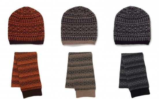 CAT'SEYE PATTERN KNIT CAP&MUFFLER
