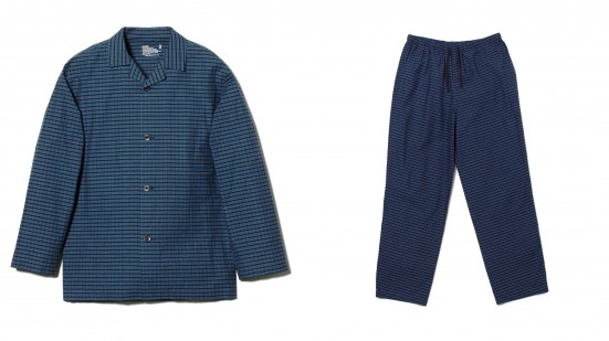 INDIGO CHECK PAJAMA&LARGE STRIPE COTTON TWILL PAJAMA