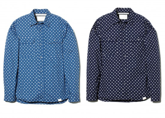 COTTON BROAD DOT PRINT WORK SHIRT