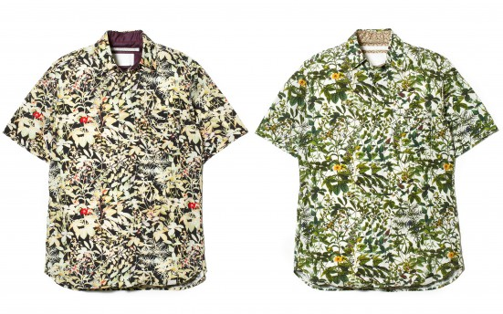 RAYON/COTTON BOTANICAL PRINT HALF SLEEVES SHIRT