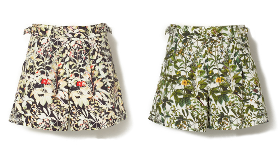 COTTON OXFORD BOTANICAL PRINT SHORT PANTS