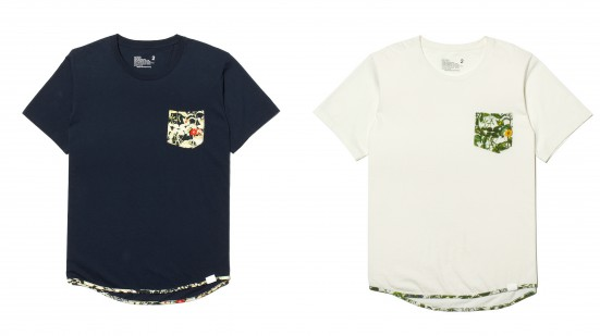 JERSEY x BOTANICAL PRINT HEM PIPED POCKET T-SHIRT