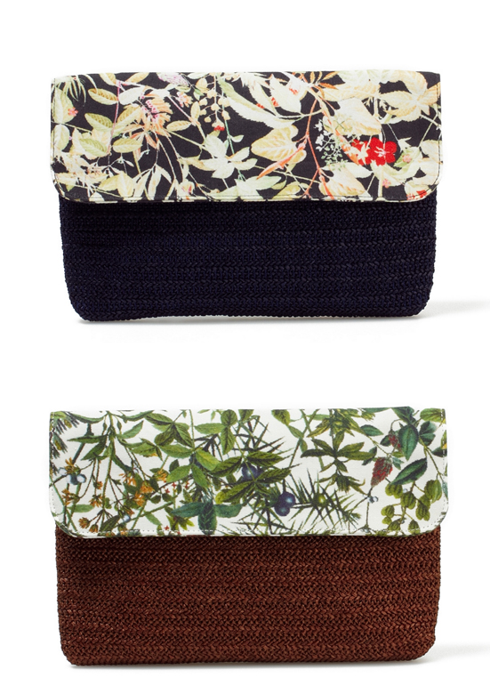 COTTN OXFORD BOTANICAL PRINT CLUTCH BAG