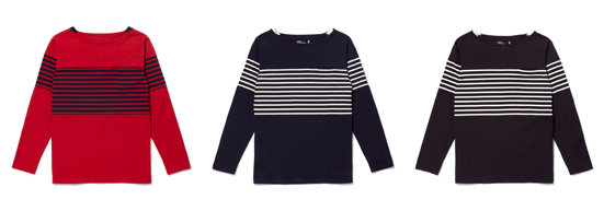 CONTRAST BOAT NECK LONGSLEEVES T-SHIRT