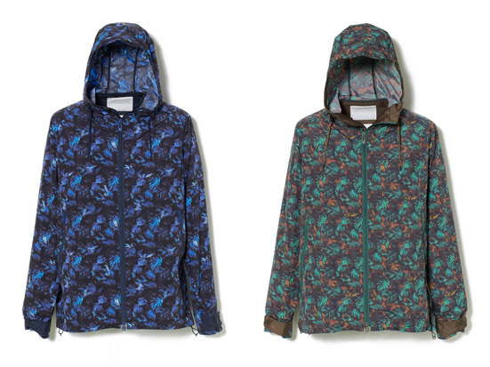 HUMMINGBIRD PRINT NYLON TAFFETA ZIP HOODED PARKA
